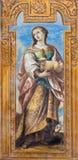 Granada - The baroque fresco of early christian  virgin–martyr Saint Agnese Stock Photography