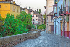 Granada - Carrera del Darro street. In morning Royalty Free Stock Image