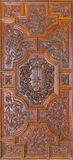Granada - carved baroque door of Basilica San Juan de Dios. Stock Photos