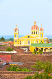 Granada cathedrak and lake Nicaragua. Royalty Free Stock Image