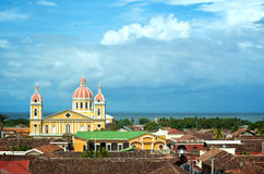 Granada Cathedral. As seen over the red tile roofs of the historic city of Granada, Nicaragua Stock Photography
