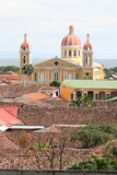 Granada Cathedral and Lake Nicaragua Royalty Free Stock Photography