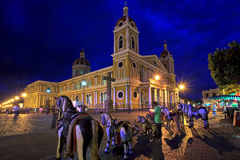 Granada Cathedral at night, Nicaragua, Central America. Granada Cathedral and the city's central park at night, Nicaragua, Central America. Taken 15 August 2015 Stock Photo