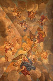 Granada - The ceiling fresco of sacristia with the angelis in heaven in Basilica San Juan de Dios Stock Image