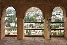 Granada city, Spain. Alhambra in Granada - Moorish palace in Andalusia, Spain Stock Photos