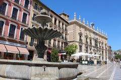 Granada City, Spain. Fountain. Royalty Free Stock Photo