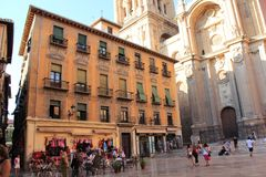 Granada City, Spain. Lively and friendly Plaza Pasiegas, Granada, Spain Royalty Free Stock Image