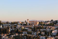 Granada City, Spain. Morning. Granada City is the capital of the province of Granada, in the autonomous community of Andalusia, Spain. The medieval Moorish Stock Images