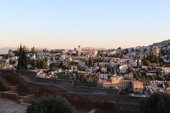 Granada City, Spain. Morning. Granada City is the capital of the province of Granada, in the autonomous community of Andalusia, Spain. The medieval Moorish Royalty Free Stock Photo