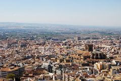Granada city view and Cathedral. Royalty Free Stock Images
