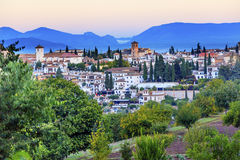 Granada Cityscape Churches Andalusia Spain from Oilve Gardens Stock Images