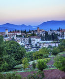 Granada Cityscape Churches Andalusia Spain from Oilve Gardens Royalty Free Stock Photos