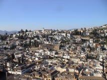 Granada cityscape, sikt från Alhambra, Spanien Arkivfoton