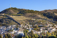 Granada Cityscape Wall Buldings Green Mountain Andalusia Spain Stock Images