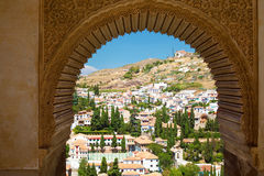 Granada cityview through window of Alhambra Stock Images