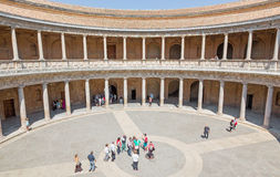 Granada - columns and atrium of Alhambra palace of Charles V. Royalty Free Stock Images