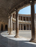 Granada - The columns and atrium of Alhambra palace of Charles V- Stock Image