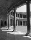 Granada - The columns and atrium of Alhambra palace of Charles V Stock Image