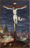 Granada - The crucifixion paint from church in Monasterio de la Cartuja in Sala de San Pedro i San Pablo Stock Photos