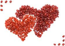 Granada del rojo de dos corazones Fotografía de archivo libre de regalías