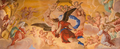 Granada - The detail of angles fresco in baroque sanctuary (Sancta Sanctorum) in church Monasterio de la Cartuja Stock Photo