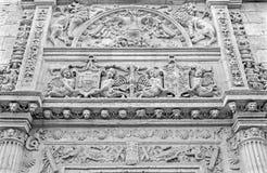Granada - detail of renaissance portal of Casa de Castril by Sebastian de Alcantara from year 1539. Royalty Free Stock Photo