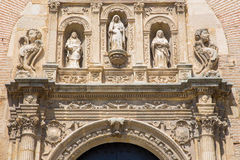 Granada - The detail of renaissance portal of St. Ann church by Sebastian de Alcantara (1542). Stock Images
