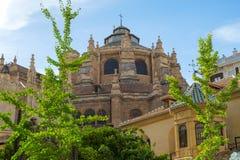 Granada domkyrka som sett från Calle Gran Via i centrala Granada, Andalusia, Spanien Arkivfoto