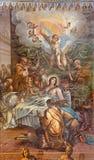 Granada - Dormition of Virgin Mary fresco in the church Monasterio de San Jeronimo by Juan de Medina from 18. cent. Stock Photography