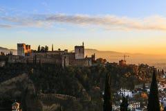 Granada España Panoramablick von Alhambra-Palast und -festung Reiseziel in Spanien lizenzfreies stockbild