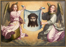 Granada - The face of Jesus Christ paint Santa Faz in Monasterio de la Cartuja in Sala de San Pedro i San Pablo. GRANADA, SPAIN - MAY 31, 2015: The face of Jesus stock photos