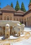 Granada - fontanna lwy w Nasrid pałac i sądzie lwy Zdjęcia Royalty Free