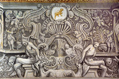 Granada - fresco barroco en el cubo de la iglesia Monasterio de San Jeronimo de Juan de Medina a partir del 18 centavo Fotografía de archivo libre de regalías