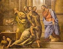 Granada - fresk scena jako Jezus Czyści świątynię w kościelnym Monasterio De San Jeronimo Zdjęcie Royalty Free