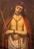 Granada - gemarteld Jesus Christ die in kerk Iglesia del Sagrario door onbekende kunstenaar schilderen stock afbeeldingen