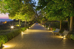 Granada - The Generalife gardens of Alhambra palace at dusk. Stock Photo