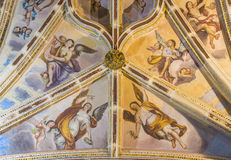 Granada - The gothic ceiling with the frescoes of back part of nave in the church Monasterio de San Jeronimo. Royalty Free Stock Photography