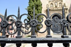Granada great historic city of Spain-Andalusia, Old Town. Artistic bars and old church portal background Stock Photos