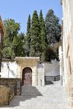 Granada great historic city of Spain-Andalusia, Old Town. Charming steps and splendid portal to garden Stock Images