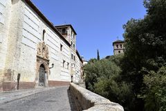 Granada great historic city of Spain-Andalusia, Old Town. Charming street on the river Rio Darro Stock Photo