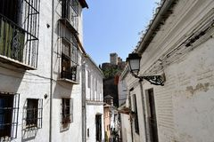 Granada great historic city of Spain-Andalusia, Old Town. Charming view from the narrow street to Alhambra Stock Photo
