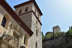 Granada great historic city of Spain-Andalusia, Old Town. Old church and Alhambra background Royalty Free Stock Images