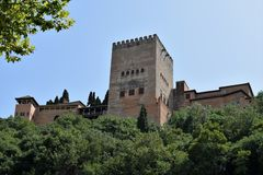 Granada great historic city of Spain-Andalusia, Old Town. Magnificent tower of Alhambra Stock Image