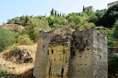 Granada great historic city of Spain-Andalusia, Old Town. Ruins of old bridge to Alhambra Stock Images