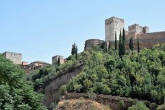 Granada great historic city of Spain-Andalusia, Old Town. Great towers of Alhambra Royalty Free Stock Photo