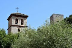 Granada great historic city of Spain-Andalusia, Old Town. Two towers church and Alhambra Stock Images