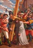 Granada - het schilderen van Jesus met het kruis van schip van kerk Monasterio DE La Cartuja royalty-vrije stock foto