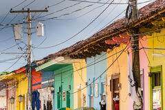 Granada housing. Row of colorful houses in central Granada, Nicaragua Royalty Free Stock Photos