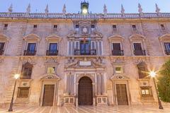 Granada - la facciata del palazzo Chancilleria reale de Granada sul quadrato di St Ann Immagine Stock