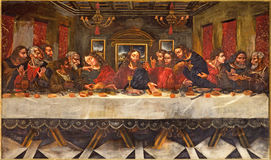 Granada - la pintura de la última cena de Juan de Sevilla Romero (1643 - 1695) en el refectorio de la iglesia Monasterio de San J Foto de archivo libre de regalías